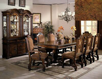 NEW 9PC NEO RENAISSANCE ELEGANT 9PC RICH CHERRY FINISH WOOD DINING TABLE SET