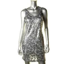 AQUA ~ Silver Sequins Floral Mesh Tank Sheath Clubwear Party Dress 6 NEW $188