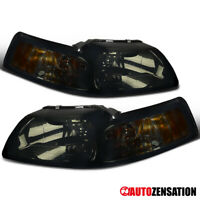 For 1999-2004 Ford Mustang Cobra Pair Smoke Lens Headlights Lamps Left+Right