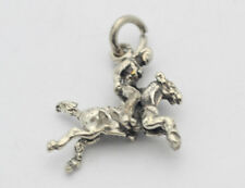 Sterling Silver .925 Small Galloping Horse Stallion with Rider Charm 2.1g F636
