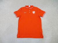 Nike Polo Shirt Adult Medium Orange White Netherlands Holland Soccer Mens *