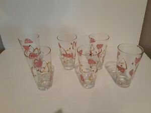 "6 RARE FEDERAL MCM AMOEBA  ATOMIC BOOMERANG 5-5/8"" GLASS TUMBLERS PINK GOLD"