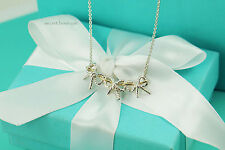 "AUTHENTIC Tiffany & Co. Sterling 18K Gold Triple Bow Ribbon Necklace 17.25"" #943"