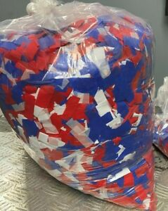 Red, White & Blue Confetti Fluttering Rectangles Biodegradable Tissue 40LBS