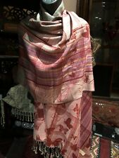 Nemesis Vintage Style Knit Brocade Red Pashmina Butterfly Scarf Wrap