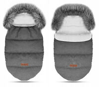Baby Stroller Pushchair Sleeping Bag Footmuff Faux Fur Husky Warm Dark Grey/Grey