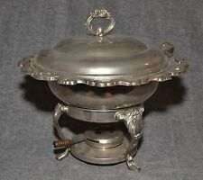 Ornate Silverplate Chafing Serving Dish Buffet Warmer w/ Oil Burner 4 Pieces