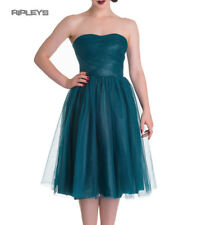 Hell Bunny Strapless Party Prom Dress Tamara Net Teal Blue All Sizes Womens UK Size 8 - XS
