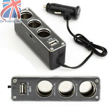 3 Way Multi Car Cigarette Socket Lighter Splitter Charger DC power Adapter+USB