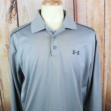 Under Armour Men's Polo Shirt XL Long Sleeve Loose All Season Gray Logo Spellout