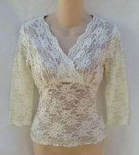 CAbi Off White Lace Stretch Top Size Small