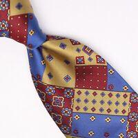Gladson Mens Silk Necktie Burgundy Gold Blue Patchwork Geometric Woven Tie Italy