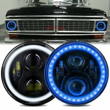 Pair 7 Round Led Headlights Drl Blue Halo For 1953 1977 Ford F 100 F 250 F 350 Fits More Than One Vehicle