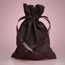 "NEW Black 5"" x 8"" Faux Suede Drawstring Bag Pouch"