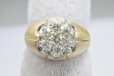 Woman's Flower Petal Diamond Cluster Ring Matched Cut 1.32 tcw GIA Spec 14k Gold
