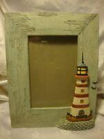 "Prinz Ceramic Lighthouse Nautical Decor Teal Photo Frame - 4""x 6"" Picture    408"