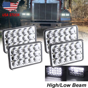 "4pcs 4x6"" LED Headlights Hi/Lo Beam For Chevy kodiak Kenworth T800 W900B W900L"