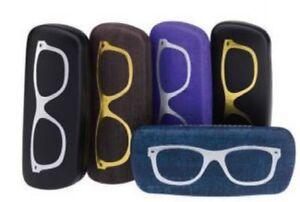 Glasses and Sunglasses Case Hard Snap Shut Felt Lined Shiny Specs Motif