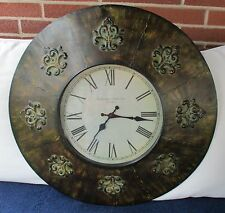"LARGE ROUND BATTERY OPERATED TIN WALL CLOCK FLEUR DE LIS DESIGN 24"" IN DIAMETER"