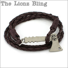 Vintage style Brown Braided Leather Antiqued Skull Hatchet Ax Pendant Bracelet