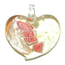 P1962w Light Amber Yellow & Silver Foil 45mm Deco Heart Lampwork Glass Pendant