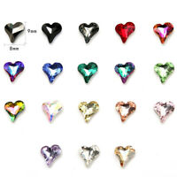 30pcs Crystal Glass Rhinestones Peach Heart Beads for DIY Jewelry Accessories