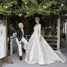 A-line Muslim Long Sleeved Satin Wedding Dress Bridal Gown Custom Size
