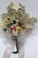 Vintage Christmas Corsage SNOWMAN Mercury Glass Bead Silver Leaf package tie