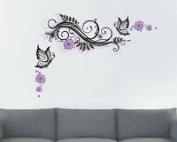 XXL WANDTATOO Schmetterling Ranke  LILA WAND RAUM DEKO KLEBE STICKER SET Neu