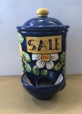 Vietri Pottery-Salt Container Lemon Pattern.Made/painted by hand in Italy