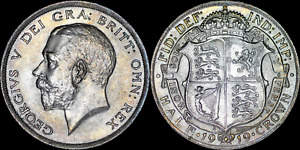 1919 SCARCE George V Sterling Silver Half Crown - Very High Grade and toned