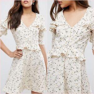 SALE Topshop Cream Floral Tea Skater Dress Short Sleeve Size 10 14 US 6 10 ❤