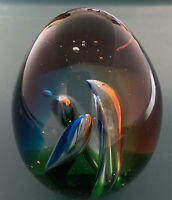 STUDIO ART GLASS MULTI COLORED DOLPHIN TUBES-EGG SHAPED @4in PAPERWEIGHT