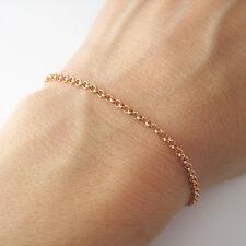 Bracelet fin maille forçat argent massif 925 plaqué or rose 18 carats BR45-R
