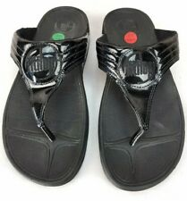Fitflop Walkstar 3 Women's Black Patent Leather Thong Slides Size US 10 / EU 42
