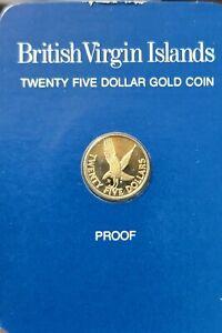 1980 British Virgin Islands Marsh Hawk Gold Franklin Mint $25 Proof Coin Proof