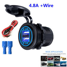 1X Waterproof Dual USB Charger Socket 4.8A With Wire 10A Fuse For Car Motorcycle
