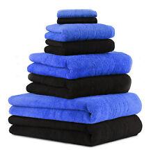 8-tlg. Badetuch Saunatuch-Set DELUXE Farbe: schwarz & blau , 2 Badetücher, 2 Dus