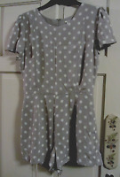 Ladies Grey-White Spots Shorts & Top Jumpsuit By 'XXI' Size Small *Please Read*