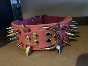 Spiked Studded Dog Collar Leather Pet Collars for Big Dog Pitbull Boxer XS S L