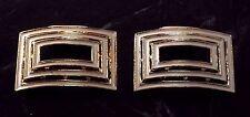 Vintage SHoe CLip Pair Gold Tone Metal WHite Enamel Step Design Shoe Accent
