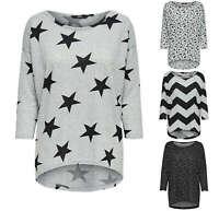 ONLY Damen Oversize Pullover Shirt onlELCOS 4/5 TOP vokuhila Sterne Zigzag Feder