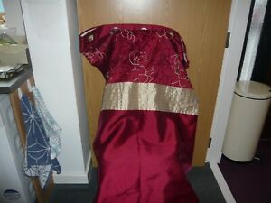 """pair dunelm lined ring top curtains size 66"""" x 90""""  deep red gold pattern"""
