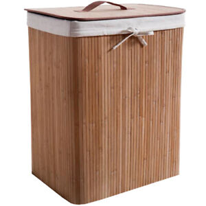 Compactor Rectangular Natural Bamboo Laundry Hamper with Removable Liner 60x45