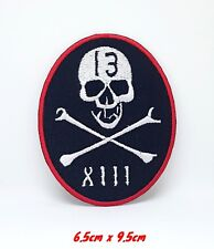 XIII Skull & Cross Bones Halloween Iron/Sew On Embroidered Patch #859
