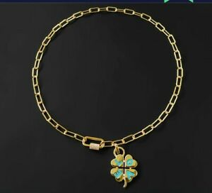 APM MONACO GP on Sterling & AAA  CZs  LUCKY 4 Leaf Clover LOVE Pendant Necklace