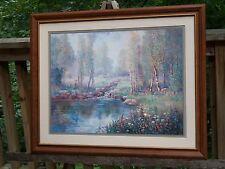 Vintage Large Multi Color Framed  Wild Life Picture Print Deer Trees Water & Flo
