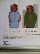 "Knitted Hooded Sweater Pattern fits 14"" Lark, Raven, Wren, Chrysalis Kish Dolls"