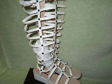 """C Label 8M Womens White Zip Gladiator 16""""H Man Made Sandals Really Cute !"""