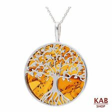 COGNAC BALTIC AMBER STERLING SILVER925 PENDANT BEAUTY TREE, KAB-274 .2